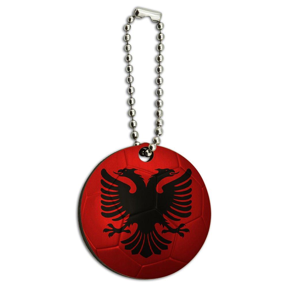 Albanian Flag Soccer Ball Futbol Football Wood Wooden Round Key Chain