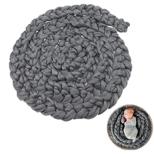 Infants Braid (Kangkang@ Newborn Baby Infant Wool Yarn Braided Knitted Rug Blanket Photography Photo Background Props Basket Stuffer Filler (grey))