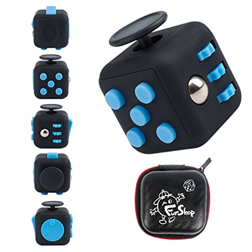 Fun Cube Relieves Stress And Anxiety Fidget Toy For Children And Adults  Black Blue