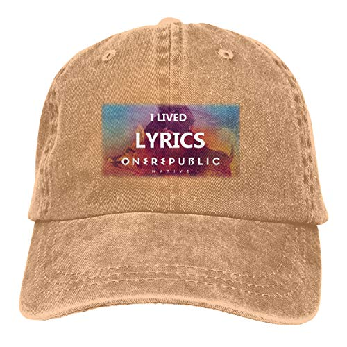 DADAJINN One Republic I Lived Lyrics Adjustable Tennis Cotton Washed Denim Cap Natural