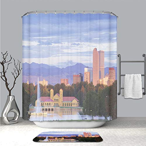 BEICICI Custom Personalized Shower Curtain and Floor Mat Denver Colorado City Park and Skyline at Sunrise Waterproof Polyester Fabric Shower Curtain and Floor Mat Combination Set