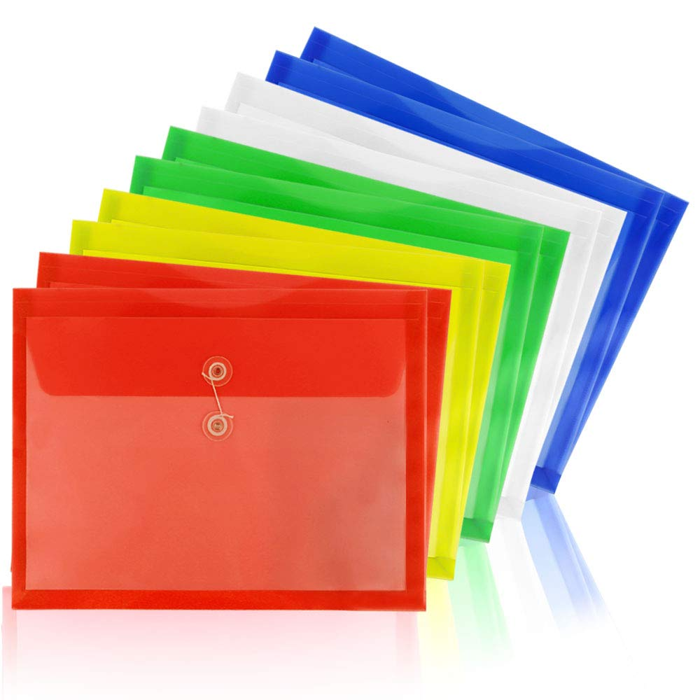 Water//Tear Resistant Set of 10 Mix Colors Translucent Moep Poly String Project Envelope with Expandable Gusset A4 Size