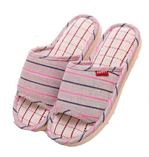 Hommes Blue de Maison sans 41 Size et 40 Pantoufles Lin Pantoufles GR et pour Glissement Pantoufles de Femmes Lin Coton Sandales de Pink Color wqRn84I