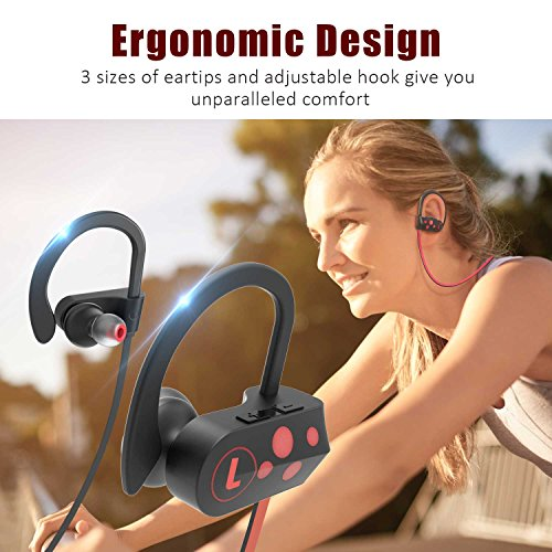 Letsfit Wireless Headphones, Sports Earphones Mic, Wireless Headset, Waterproof Sweatproof HD Stereo Earbuds Running Gym Workout, Noise Cancelling Headsets, 8 Hours Work Time by Letsfit (Image #4)