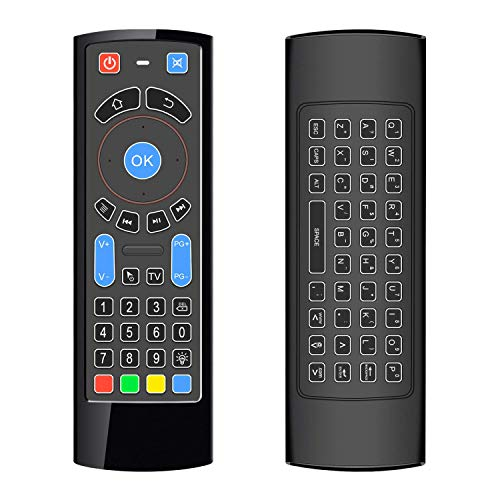 ILEBYGO Updated Bluetooth Mini Wireless Keyboard Air TV Remote Mouse Control with Backlit CR3 for Android TV Box, Mini PC, Smart TV, HTPC, All-in-One PC/TV