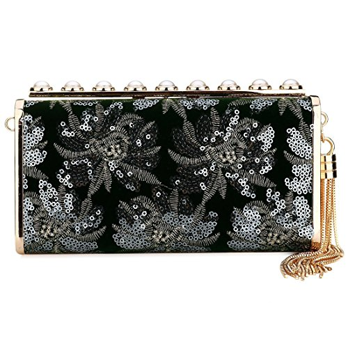 Evening Green Clutch Purse Clutch for Girls Sequin Clutch Floral Pearl Acrylic Black Women Bag Designer Evening Handbag awqUYdxY