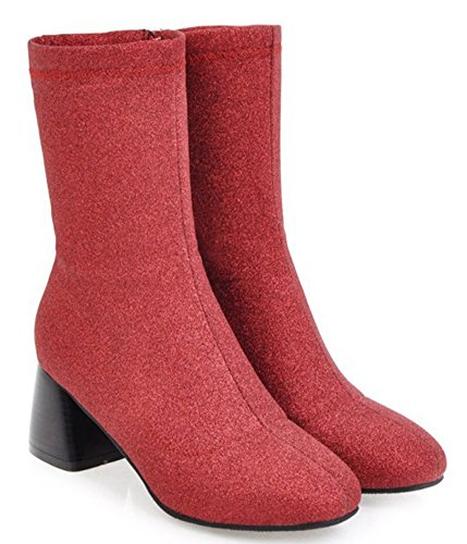 Sequins Round Toe Mid Booties Women's Top Fashion Aisun Red qEIwn7OFtx