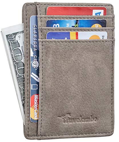 Travelambo Front Pocket Minimalist Leather Slim Wallet RFID Blocking Medium Size (Oldo Wrangler)