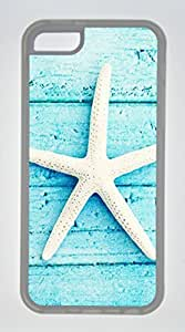 Iphone 5C TPU Rubber Shell Case Wood Background Starfish Transparent Skin by Sallylotus