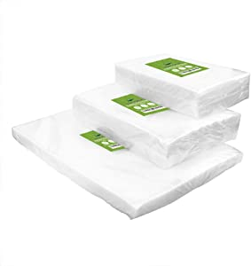 "VacYaYa 150 CountVacuum Sealer Bags 50 Each Size Pint 6""x 10""Quart 8""x12""Gallon11""x16"" for Food Saver, Vac Seal a Meal Bags with BPA Free, Heavy Duty Sous Vide Vaccume Seal Safe PreCut Bag"