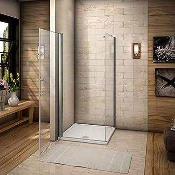 Aica Italia - Mampara de ducha, 76 x 80 cm, esquina, puerta de baño, transparente, cristal templado, antical, fácil de limpiar, altura 185 cm: Amazon.es: Bricolaje y herramientas