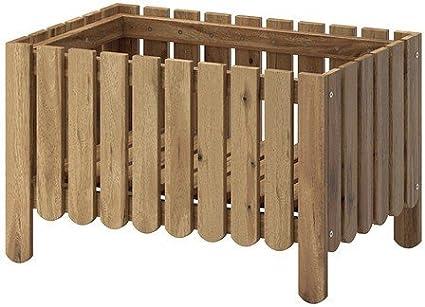 IKEA Askholmen - jardinera, de colour gris y colour marrón barnizado de colour gris-marrón - 94 x 91 x 44 cm
