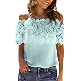 Simayixx Casual Tops for Women, Sexy Lace Mesh Sheer Short Sleeve Crop Tee Off Shoulder T Shirt Blouse Plus Size
