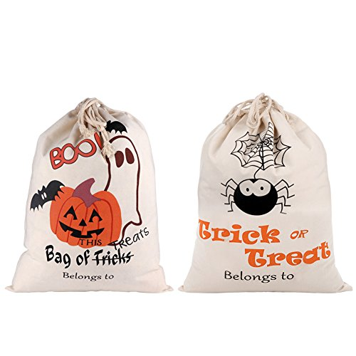 AerWo 2 PCS Halloween Bags Trick or Treat Candy Bags, Large Halloween Drawstring Sacks and Pumpkin Gift Bags for Halloween Holiday Supplies and Kids Party Favor.]()
