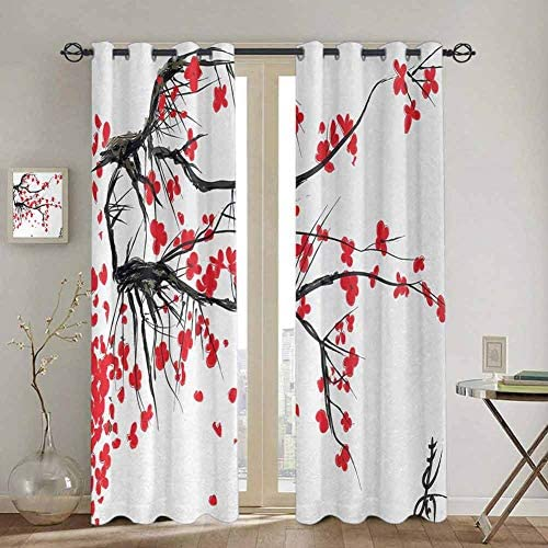SONGDAYONE Nature Closet Curtain Sakura Blossom Japanese Cherry Tree Garden Summertime Vintage Cultural Artwork Print Daily use W84 x L96 Inch Red Black
