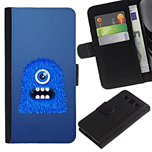 UNIQCASE - Samsung Galaxy S3 III I9300 - Blue One Eye Monster - Cuero PU Delgado caso cubierta Shell Armor Funda Case Cover