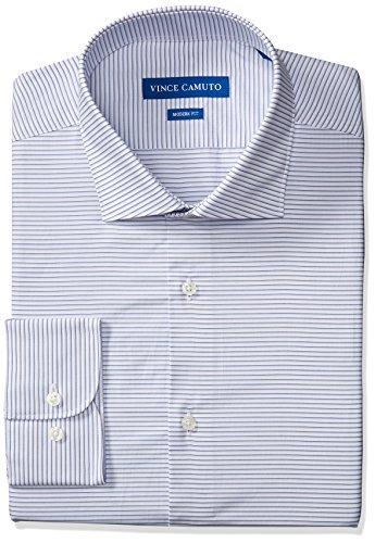 Sateen Stripe Cotton Dress Shirt - Vince Camuto Men's Modern Fit Horizontal Stripe Dress Shirt, Blue/White Horizontal Stripe, 16.5 32/33