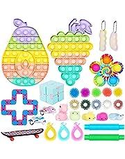 Fidget Toys Set, Cheap Sensory Fidget Toy Pack, Stress Relief Hand Toys for Adults Kids, Fidget Box with Big Size Push Pop Bubble Toys & More