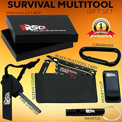 37 in 1 Wallet Multitool Card Gift Set v2.0 – Black Edition | Multi-use Pocket Tool for EDC, Hiking, Camping or Travel + Other Gadgets for Men | Wallet Survival Tool Card