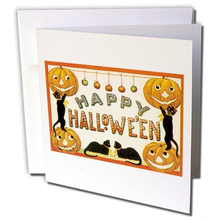 Vintage Happy Halloween Jack O Lanterns and Black Cats - Greeting Cards, 6 x 6 inches, set of 12 -