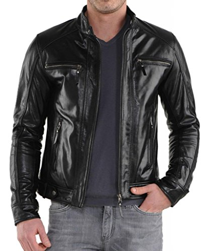 Junction Para Hombre Leather Chaqueta Negro 6wR6Zd