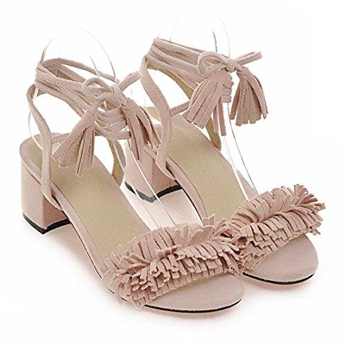 AIYOUMEI Damen Wildleder Blockabsatz Sandalen mit Schnürung und Quasten Chunky Heel Bequem Sommer Schuhe Billig Verkauf Fabrikverkauf Auslass Amazon Günstig Kaufen Kauf w8inaxXB5