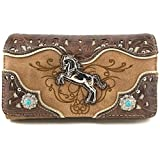 Justin West Horse Embroidery Studded Concealed Carry Handbag Purse Matching Wallet (Tan Wallet Only)