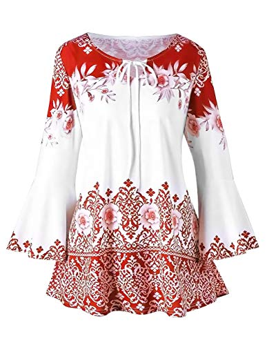 Women Printed Flare Tunics Floral Vintage Blouses Long Flower Bell Sleeve Keyhole T-Shirts Plus Size Tops