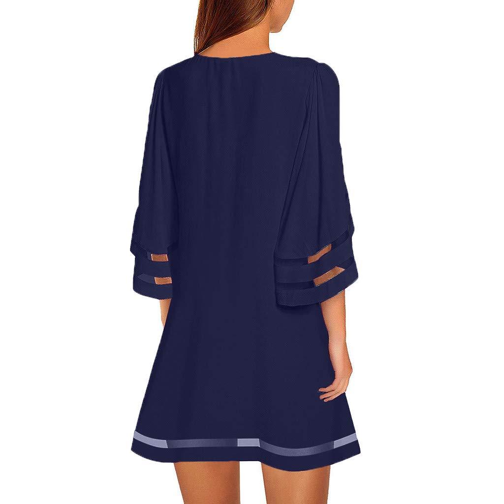 Vestido Camisa para Mujer Blusa con Panel de Malla Cuello en V ...