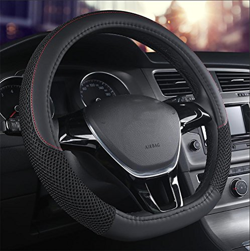 Generic D Type Genuine Leather Steering Wheel Cover Sports Curves Fit for for Nissan New Rogue VW Jetta