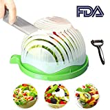 Salad Cutter Bowl 60 Seconds Easy Fresh Salad Cutter and Fast Fruit Vegetable Chopper Salad Maker by Accdata [Bonus Multi-Function Paring Knife]