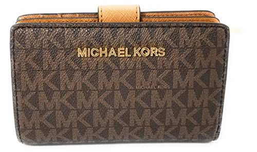 Michael Kors Jet Set Travel PVC Signature Bifold Zip Coin Wallet Clutch (Brown 2018) by Michael Kors (Image #2)