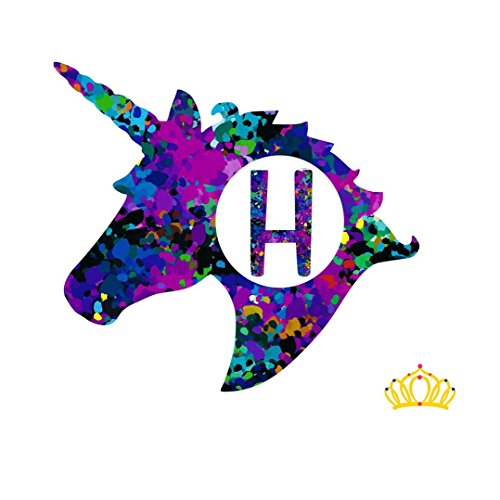 Letter H Monogram Unicorn Decal for Yeti Cup, Tumbler, Laptop, or Car - 3 inch height