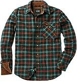 CQR CQ-HOF110-HLD_X-Large Men's Flannel Long Sleeved Button-Up Plaid 100% Cotton Brushed Shirt HOF110