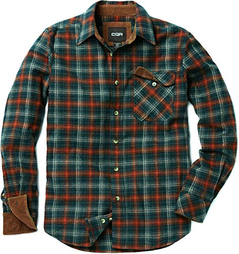 CQR Men's Flannel Long Sleeved Button-Up Plaid All Cotton Brushed Shirt, Plaid(hof110) - Holiday, 2X-Large