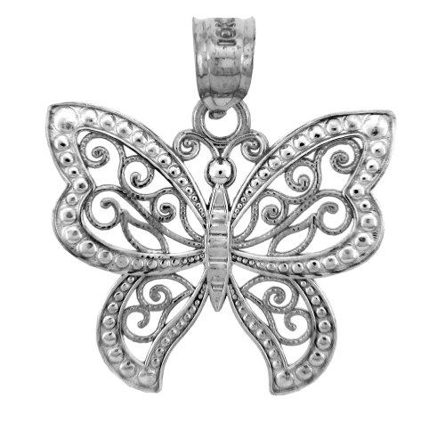 10 ct 471/1000 - Or Blanc Charmes - La Or Blanc Papillon Pendentif