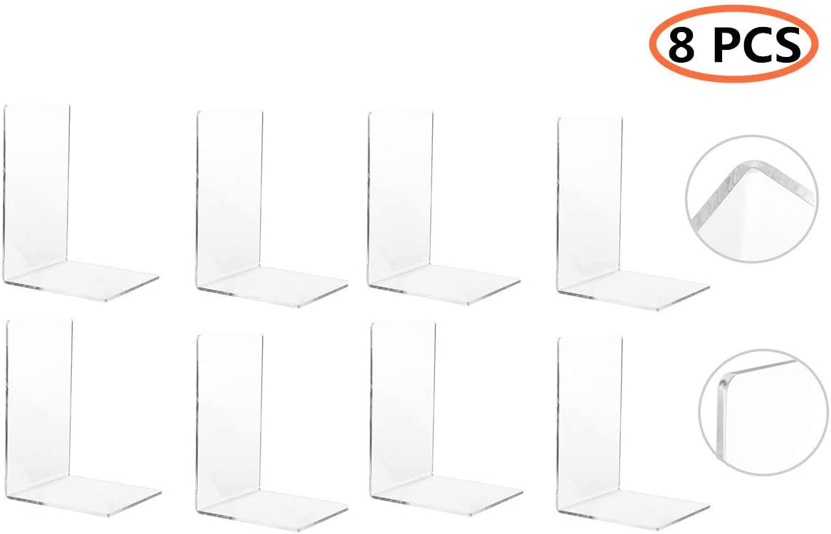 CY craft 8 Pieces/4 Pairs Bookends,Clear Acrylic Bookends for Shelves,Heavy Duty Book Ends and Desktop Organizer,Book Stopper for Books/Movies/CDs,7.3 ×4.8× 4.8 inch