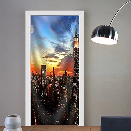 Niasjnfu Chen custom made 3d door stickers New York City Midtown Skyline at Dark Fabric Home Decor For Room Decor 30x79 by Niasjnfu Chen