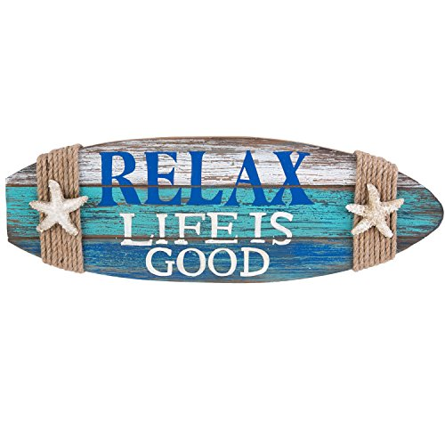 Wood Surfboard Wall Plaque Relax Life is Good With Starfish and Rope Beach Decor