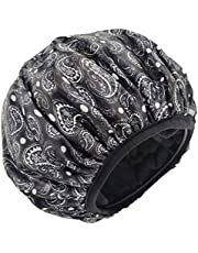 Jumbo Size Triple Layer Shower Cap for Women Microfiber Terry Cloth Silky Satin 100% Waterproof Shower Hats Reusable Breathable Plus Size Hair Hats for Large Long or Natural Hair Ladies (BLACK PAISLEY)