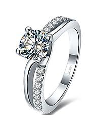 1CT NSCD Simulated Diamond Ring Women Engagement Prongs Setting 925 Silver Wedding Jewelry