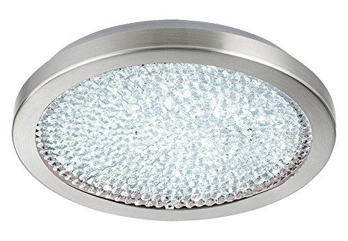 1x17.3W LED Ceiling Light w/Matte Nickel Finish & White Glass w/Clear Crystals