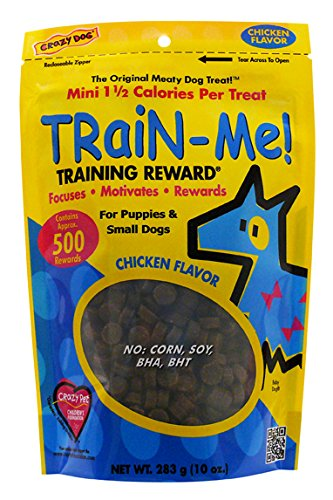 Crazy Dog Train-Me! Chicken Mini Training Reward Treats (1 Pouch), 10 oz (Crazy Train Me Dog)