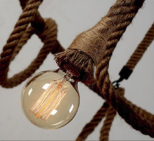 HAIXIANG 6 Light Hemp Rope Pendant Lamp Vintage Industrial Pendant Lamp Retro Edison Nautical Manila Rope Ceiling Light Fixtures by HAIXIANG (Image #5)