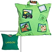 Toddler Boy Pillow - Personalized Kids - Made From John Deere Tractor Fabric - Day Care Travel