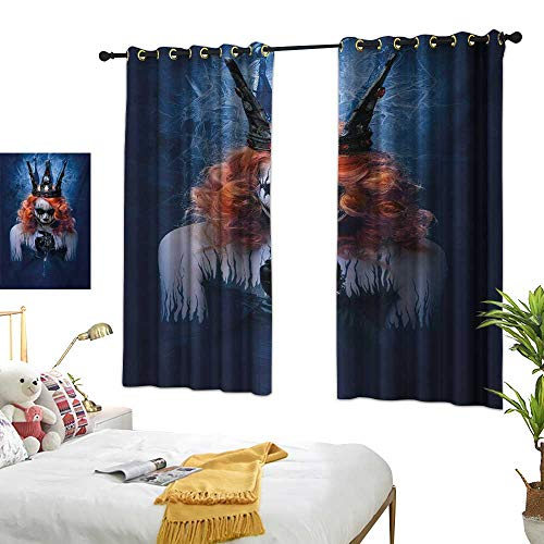 RuppertTextile Simple Curtain Queen of Death Scary Body Art Halloween Evil Face Bizarre Make Up Zombie 63