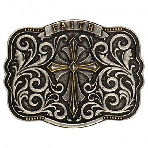 Antique Cross Belt (Montana Silversmiths Men's Two-Tone Faith Cross Traditional Attitude Buckle Antique Silver One Size)