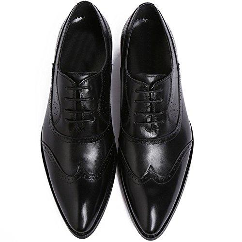 Suola Mano Classica A Pelle con Formale Scarpe Black Scarpa con in Fatto Lacci in Matrimonio con Uomo Oxford Punta Moda Pelle nXXzSB