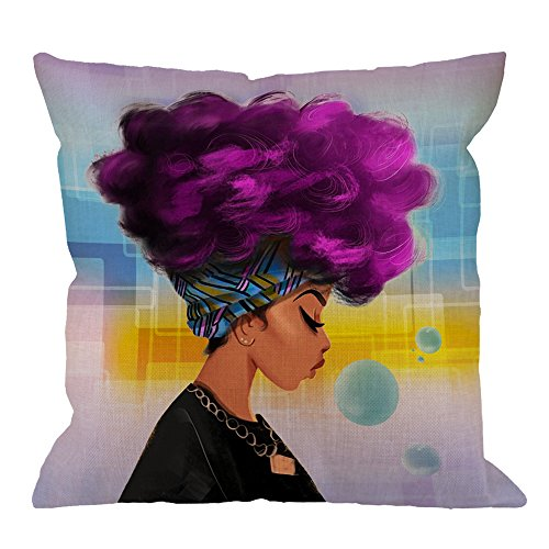 African Pillow Covers Decorative By HGOD DESIGNS African Women American Pattern with Purple Hair Hairstyle Cotton Linen Print Square Pillow Case for Men/Women/Kids 18x18 inch Navy Blue Yellow Purple ()