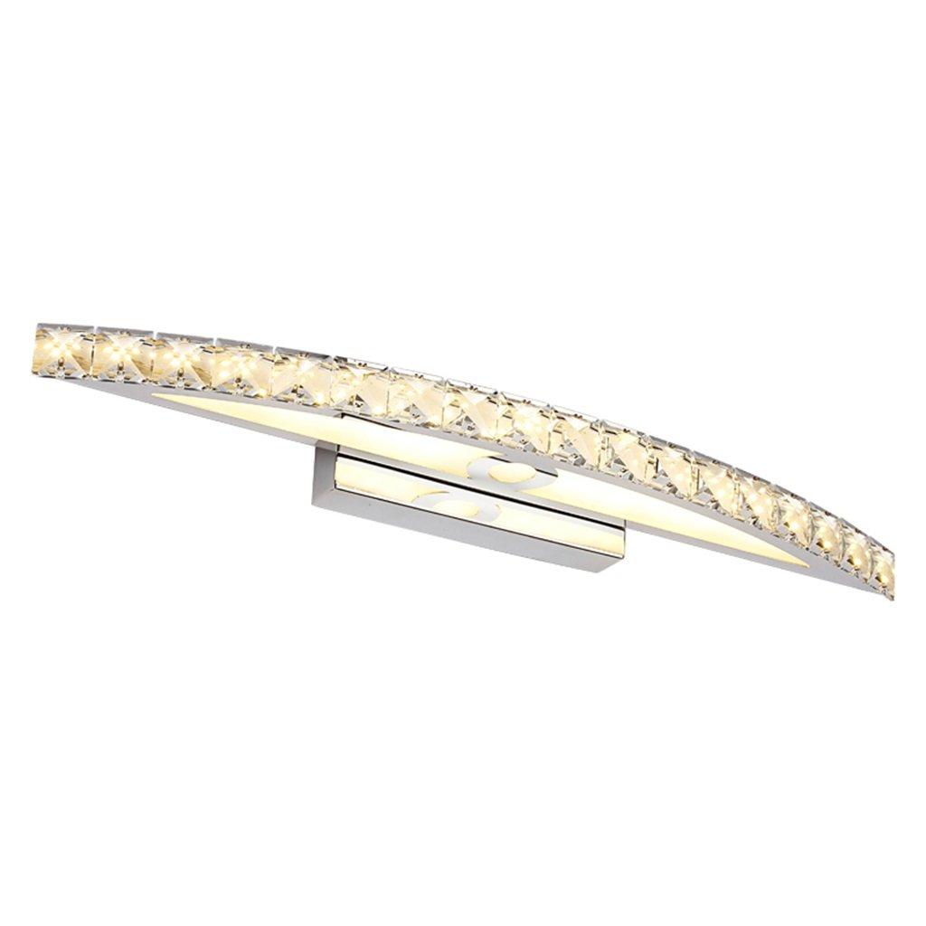 WarmWeiãÿ15w 54cm Moderne Mode K9 Crystal LED Spiegel Licht im Bad - Wasserdicht Anti-Fog Make-up Spiegel Front Beleuchtung Edelstahl Wand Lampe (Farbe  Transparent) (Farbe   Warmweiß-15W 54cm)